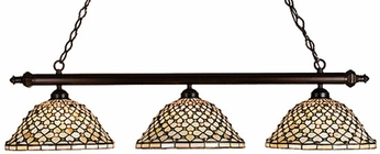 Meyda Tiffany 18848 Diamond Jewel 3 Light Tiffany Kitchen Island Ceiling Light
