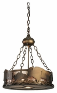 Meyda Tiffany 110643 Buffalo Antique Copper Finish Rustic 16 Inch Diameter Hanging Lamp