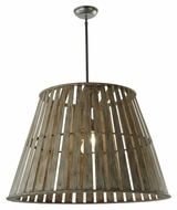 Meyda Tiffany 142776 Peach Basket 31 Inch Diameter Rustic Wooden Hanging Light