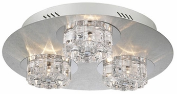 PLC 81246-AL Ice Age 9-Light Flushmount in clear glass