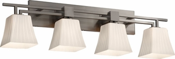 Justice Design FSN870440 Aero Fusion Square Flared Shade Contemporary Four-Light Bathroom Lighting