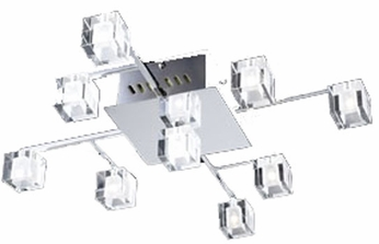 PLC 36652 D'oro Contemporary 9 Light Ceiling Fixture in Polished Chrome