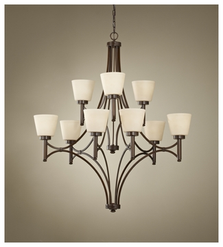 Feiss F267163HTBZ Nolan Large 2-tier 9-lamp Chandelier