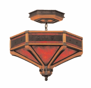 Kalco 5836NI Aspen 24 inch 6-lite 'iron ring' semi flush mount