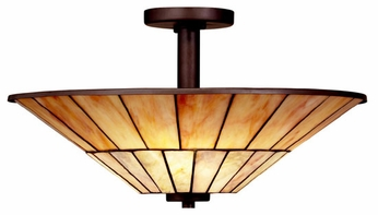 Kichler 65356 Morton Craftsman Art Glass Semi-flush Ceiling Light