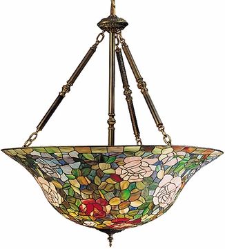 Meyda Tiffany 26554 Rosebush 38 inches wide Tiffany Inverted Ceiling Light