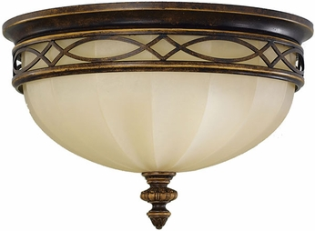 Feiss FM261-WAL Edwardian Traditional 3-light 14 inch Outdoor Ceiling Light in Walnut