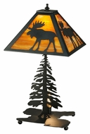 Meyda Tiffany 27293 Lone Moose Black Finish Rustic 21 Inch Tall Living Room Table Lamp