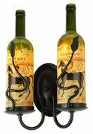 Meyda Tiffany 142181 Tuscan Vineyard Personalized 9 Inch Wide 2 Lamp Wine Bottle Wall Light