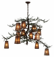 Meyda Tiffany 141512 Pine Branch Valley View 54 Inch Diameter Silver Mica Rustic Chandelier
