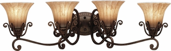 Kichler 5058-CZ Cottage Grove Carre Bronze 4-Light Traditional Bath Bar