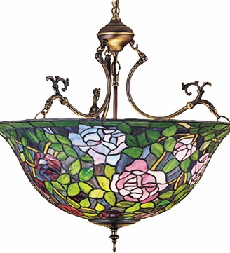Meyda Tiffany 30469 Rosebush Tiffany Inverted Ceiling Light