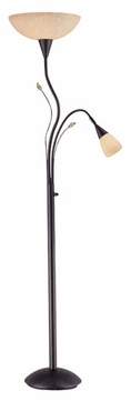 Lite Source LSC6919 Nevio Rustic Torchiere/Reading Floor Lamp Combo in Dark Bronze