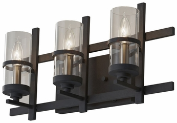 Feiss VS20003-AF-BS Ethan Antique Forged Iron 3 Lamp Bathroom Vanity Light
