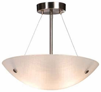 Artcraft AC6114 Linen Glassware Medium Contemporary Crosshatch Semi-Flush Ceiling Light