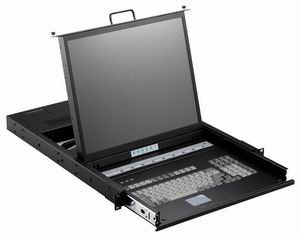 1U 17Inch Rackmount LCD Monitor with 8 USB KVM Ports and Cables