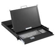 EPC420-B17 17 Inch 16:9 Ratio Wide Screen 1U Rack Mount LCD Monitor Single Port 20 Inch Deep Version with Speakers