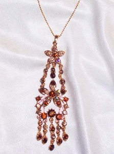 Goldtone Necklace w/Dangling Topaz RS Pendant - NEW, NOT VINTAGE