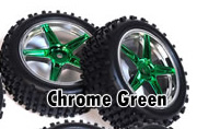 1/10th front buggy wheels+rims 2pcs (chrome green)