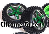 1/10th rear buggy wheels+rims 2pcs (chrome green)