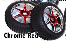 1/8th Buggy Wheels+Rims 2PCS (Chrome Red)