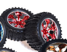 1/10th Truck Wheels+Rims 2PCS (Chrome Red)