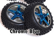 1/10th front buggy wheels+rims 2pcs (chrome blue)