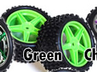 1/10th rear buggy wheels+rims 2pcs (green)
