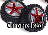 1/10th rear buggy wheels+rims 2pcs (chrome red)