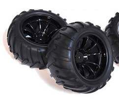 1/10th Truck Wheels+Rims 2PCS (Black 12mm Hex)