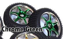 1/8th Buggy Wheels+Rims 2PCS (Chrome Green)