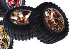 1/10th Truck Wheels+Rims 2PCS (Chrome Orange)