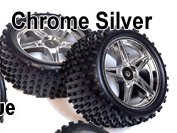 1/10th REAR Buggy Wheels+Rims 2PCS (Chrome Silver)