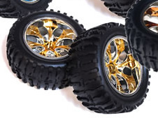1/10th Truck Wheels+Rims 2PCS (Chrome Gold)