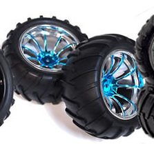 1/10th Truck Wheels+Rims 2PCS (Chrome Blue)