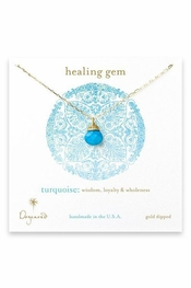 Dogeared Jewelry Healing Gem Briolette Turquoise Gold Necklace