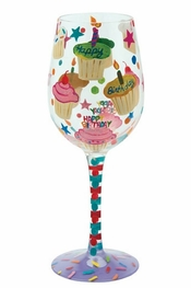 Lolita Birthday Cupcakes Wine Glass