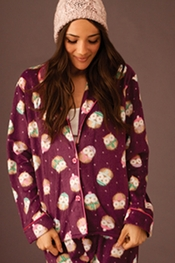 PJ Salvage Owl Polar Fleece Pajama Set