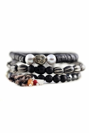 Chan Luu Matte Onyx Mix Stretch Bracelet Set