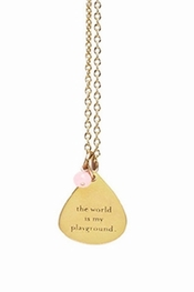 Dogeared Jewelry The World Is My Playground Mantra Gold Necklace