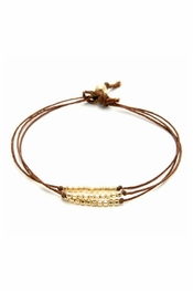 Dogeared Jewelry Triple Strand Sparkle Bracelet, Tobacco with Gold Beads
