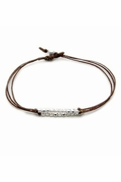 Dogeared Jewelry Triple Strand Sparkle Bracelet, Tobacco with Silver Beads