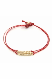 Dogeared Jewelry Gold Dipped Sparkle Bracelet, Red Irish Linen