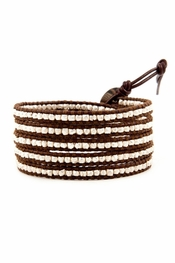 Chan Luu Silver Wrap Bracelet on Brown Leather
