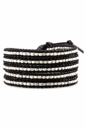Chan Luu Silver Wrap Bracelet on Black Leather
