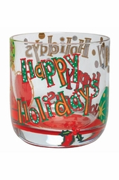 Lolita Happy Holidays Rocks Glass