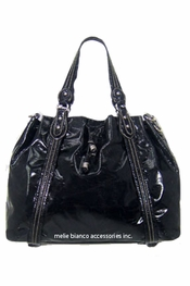 Melie Bianco Black Drawstring Bag With Python Trim