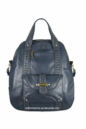 Melie Bianco Blue Bowler Bag with Woven Trims