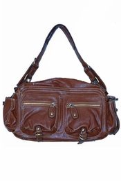 Melie Bianco Brown Pocket Satchel