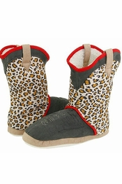 PJ Salvage Leopard Boot Slippers